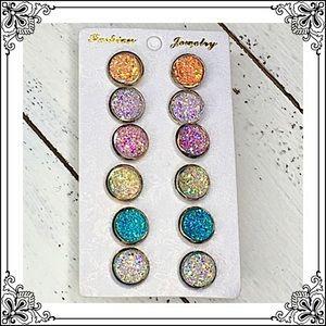 Jewelry - Druzy Stud Earrings Rainbow